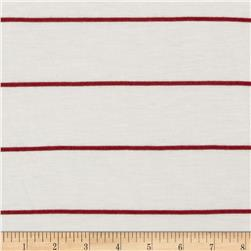 Designer Stripe Jersey Knit Cream/Burgundy
