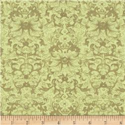 Rebecca's Rose Damask Light Green Fabric
