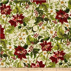 Kaufman Holiday Flourish Metallics Poinsettias Holiday