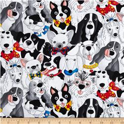 Timeless Treasures Packed Dogs White