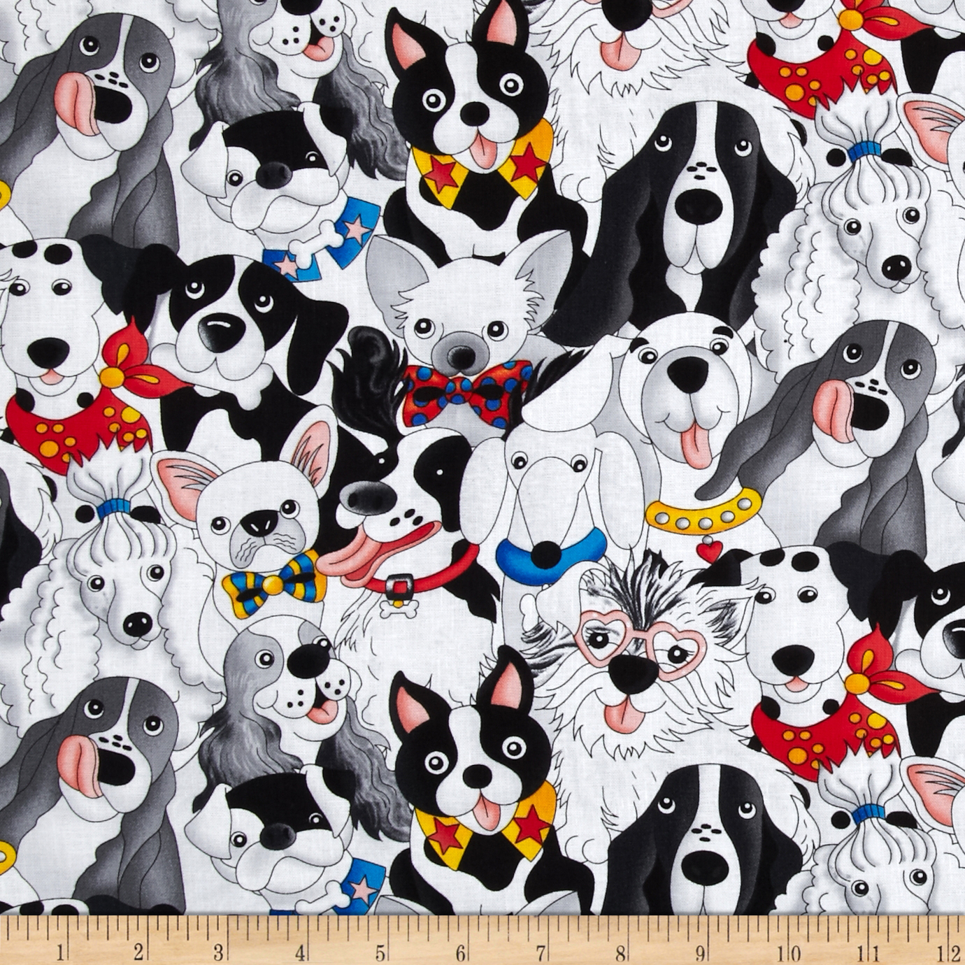 Timeless Treasures Packed Dogs White Fabric