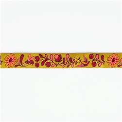"7/8"" Tula Pink Birds & Bees On Gold Ribbon"