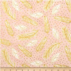 Clarabelle Metallic Feathers Carnation/Gold
