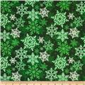 Christmas Flannel Snowflakes Green