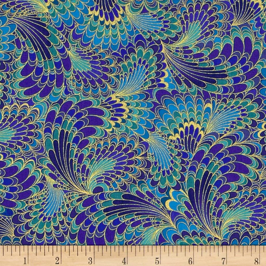 Timeless Treasures Palazzo Metallic Abstract Feathers Blue