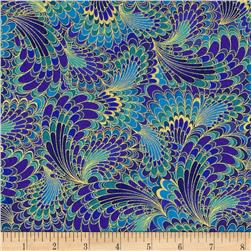 Timeless Treasures Palazzo Metallic Abstract Feathers Blue Fabric