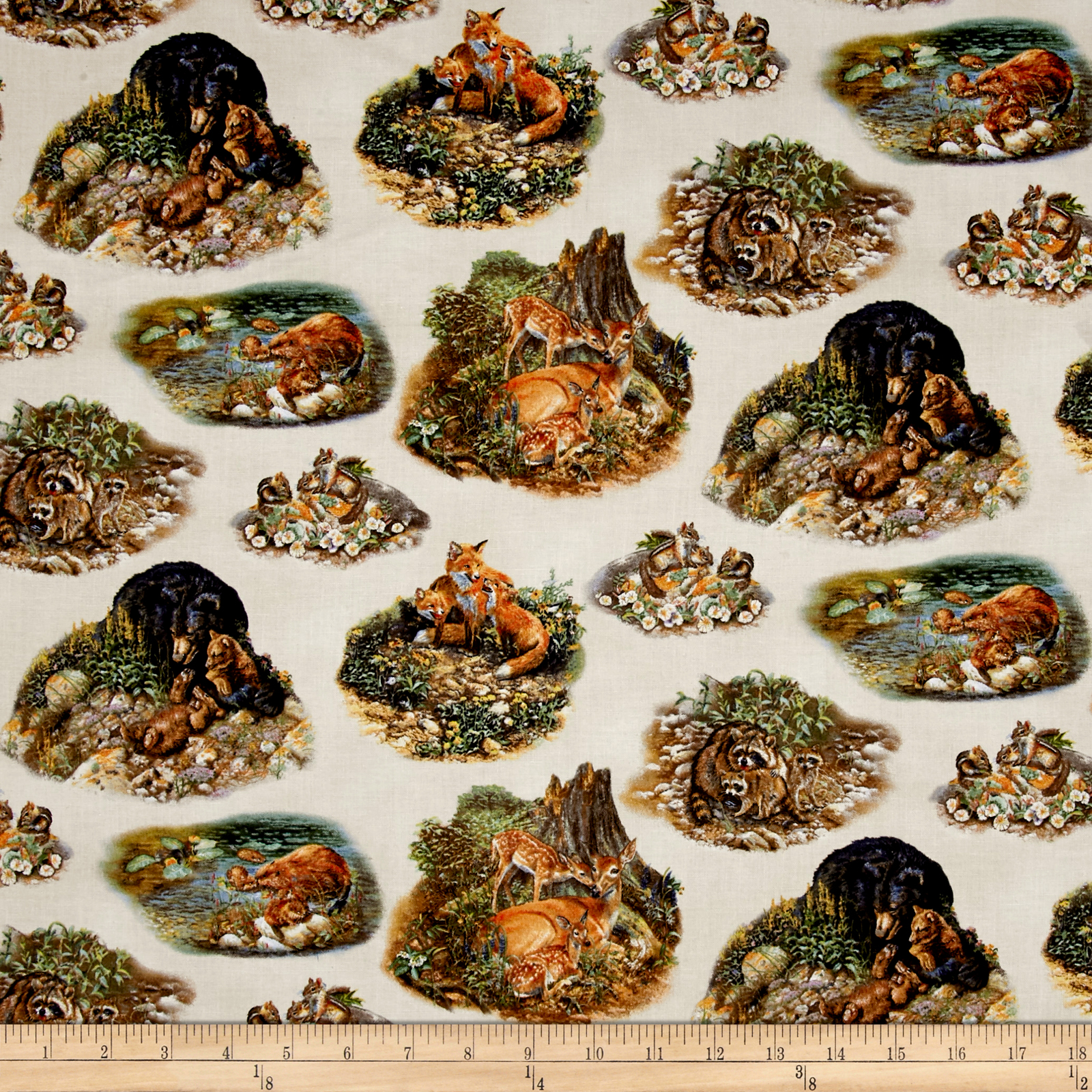 INOpets.com Anything for Pets Parents & Their Pets Woodland Families Scenic Earth Fabric