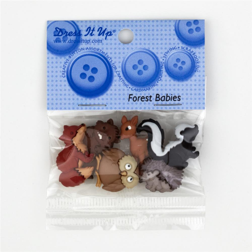 Dress It Up Embellisment Buttons Forest Babies
