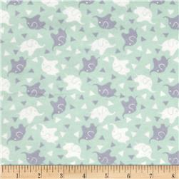 Flannelland Elephant Confetti Sea Foam/Grey
