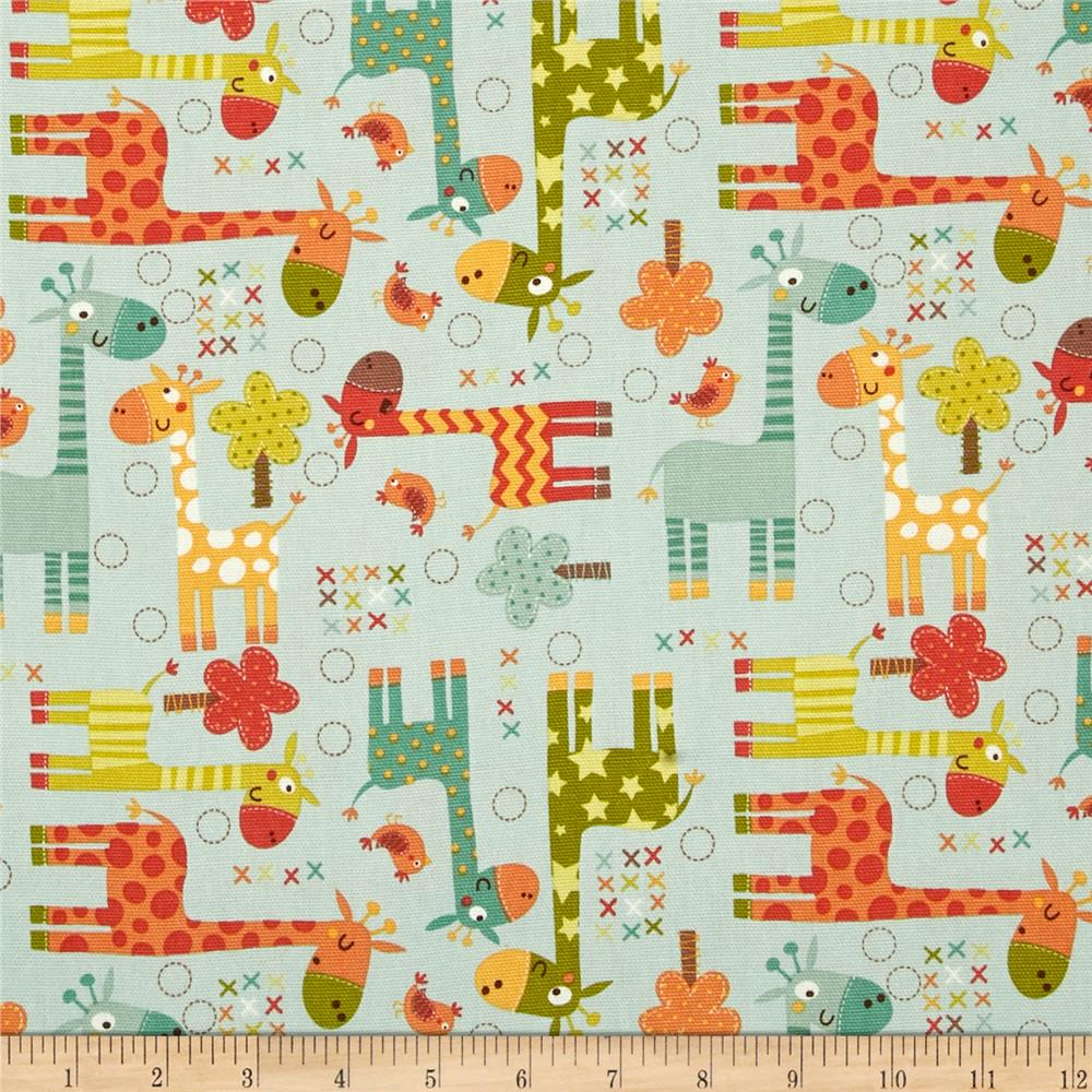 Riley blake home decor giraffe blue discount designer for Fabric mural designs