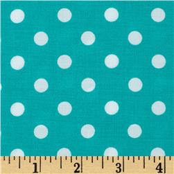 Rayon Challis Small Dots Jade/White