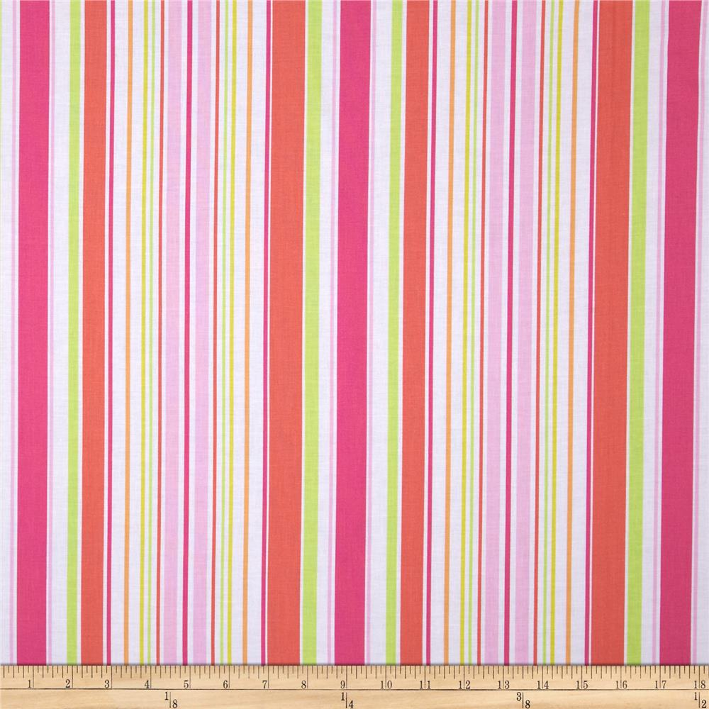 Michael Miller Sea Buddies Umbrella Stripe Pink
