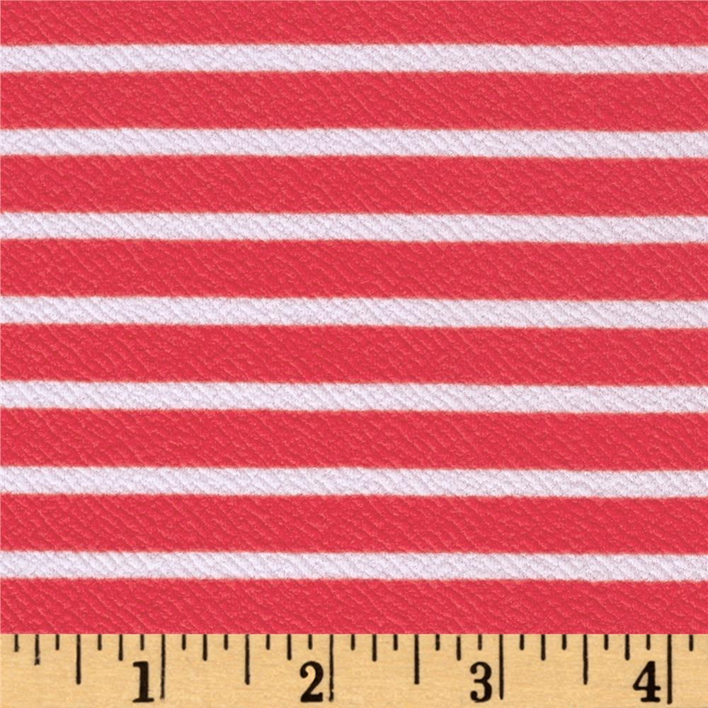 Liverpool Double Knit Horizontal White Stripe on Coral