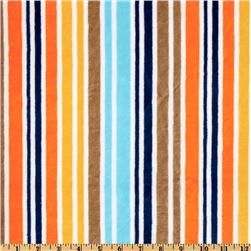 Kaufman Minky Cuddle Candy Stripes Orange/Brown Fabric