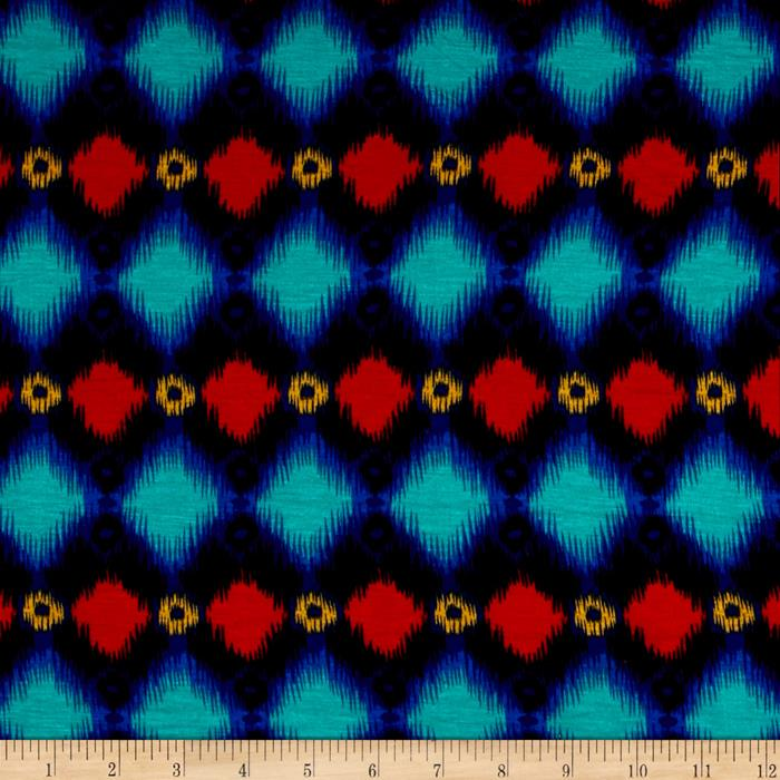 Rayon Jersey Knit Diamante Navy Multi Fabric By The Yard