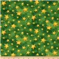 Santa's Journey Stars Metallic Green