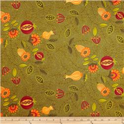 Moda Hello Fall Large Floral Olive
