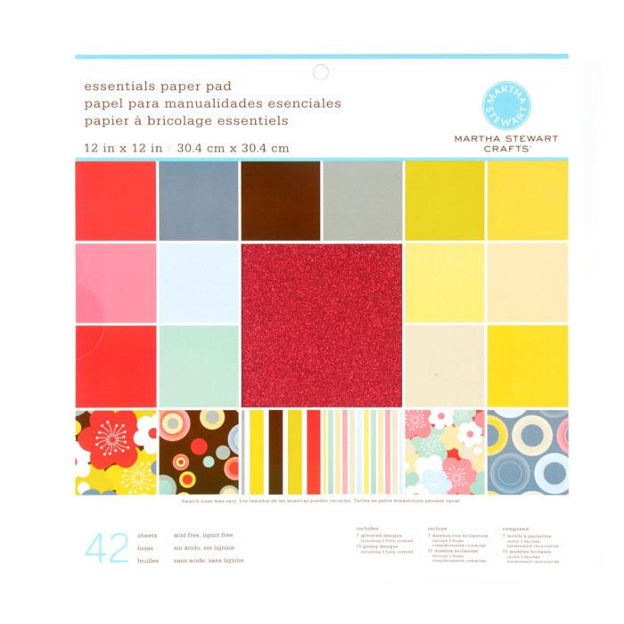"Martha Stewart Crafts Essentials Paper Pad 12"" X 12"" Tonals"