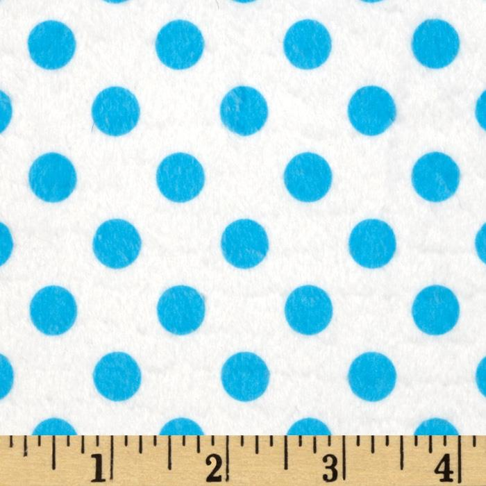 Minky Minnie Dots White/Turquoise
