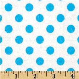 Minky Minnie Dots White/Turquoise Fabric