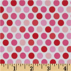 Riley Blake Lovey Dovey Flannel Dots Pink Fabric