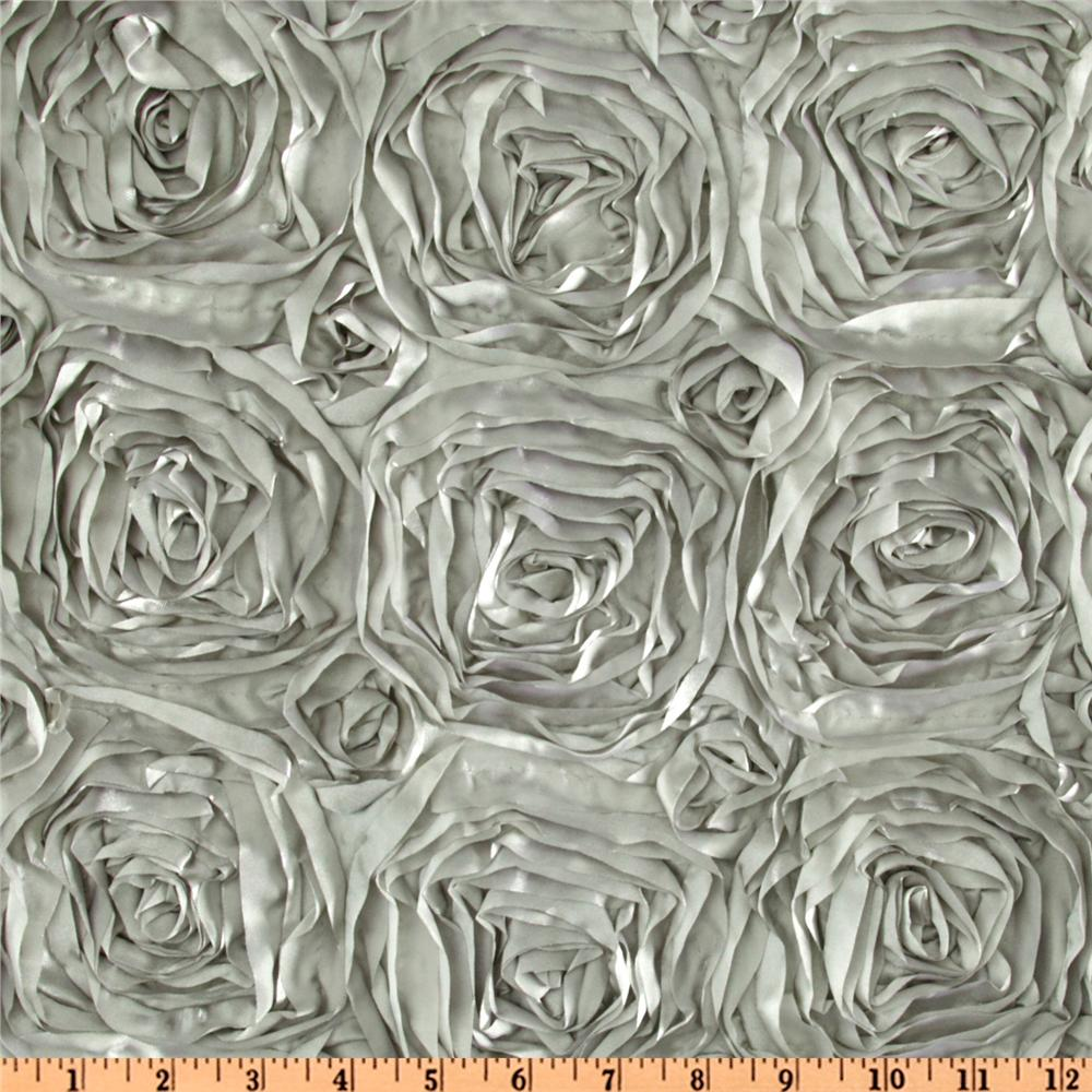 Splenda Satin Ribbon Rosette Silver Fabric By The Yard