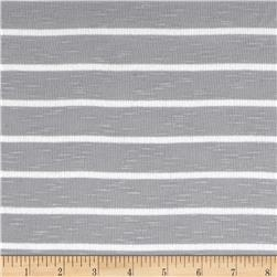Designer Stretch Slub Rib Knit Stripe Grey/White Fabric