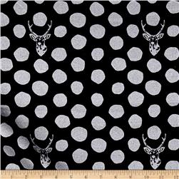 Kokka Sambar Canvas Metallic Dots Black/Silver