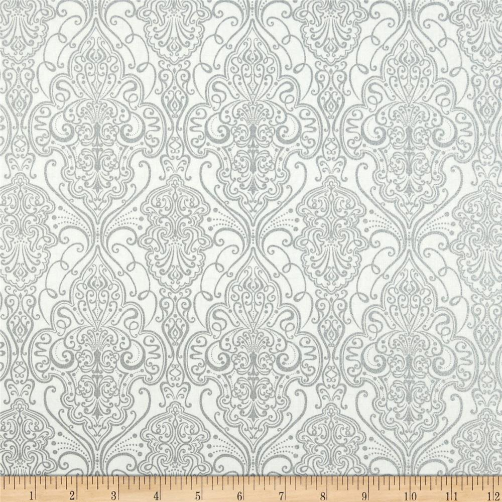 Pearle Silver Opalescent Damask White