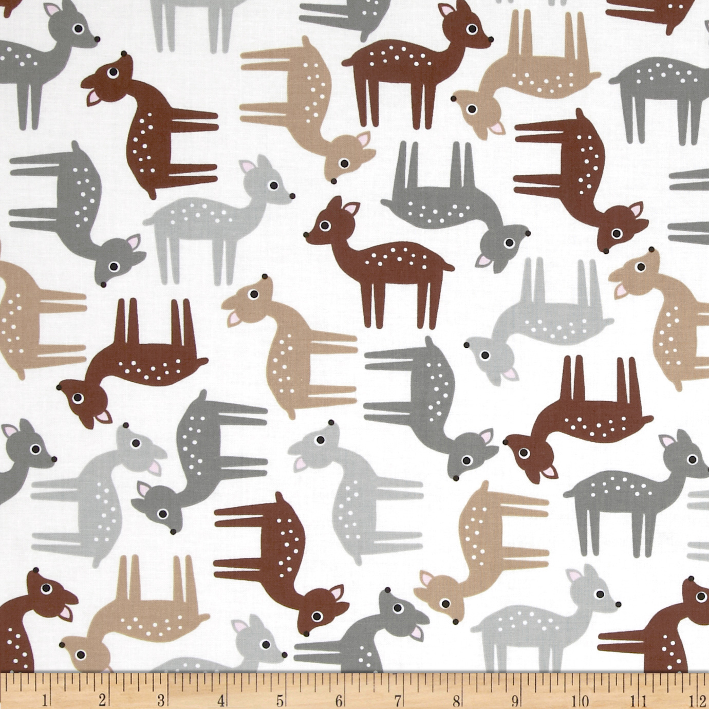 Woodland Pals Tossed Deer Nature Fabric