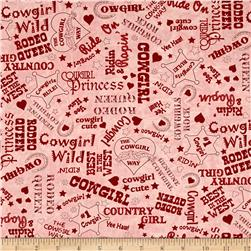Moda Cowgirl Country Cowgirl Text Princess Pink