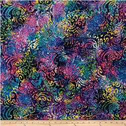Indian Batik Cascades Scroll  Blue/Pink Multi