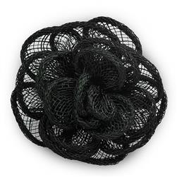 "3"" Brooch And Hairclip Abaca Impatiens Black"