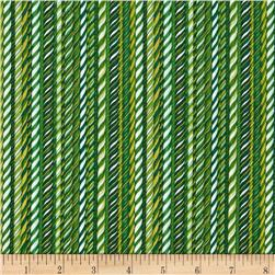 Christmas 2015 Candy Canes Green Fabric