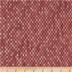 Narumi Metallic Abstract Check Coral/Silver Fabric