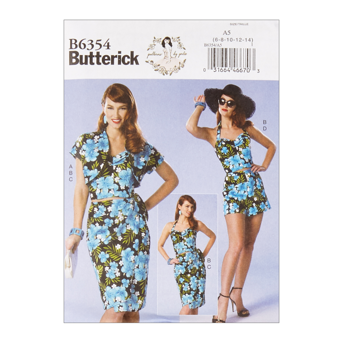 1950s Fabrics & Colors in Fashion Butterick B6354 Patterns by Gertie Petite Bolero Bustier Sarong  Shorts E5 SZ 14-22 $11.97 AT vintagedancer.com