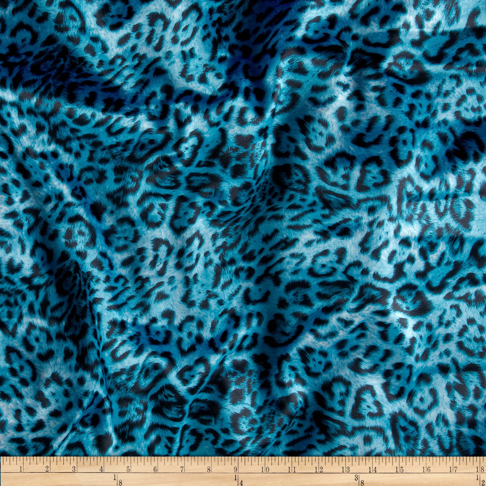 Stretch Crepe Back Satin Leopard Teal