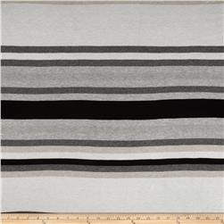 Stretch Rayon Jersey Knit Yarn Dyed Stripes Black/Grey