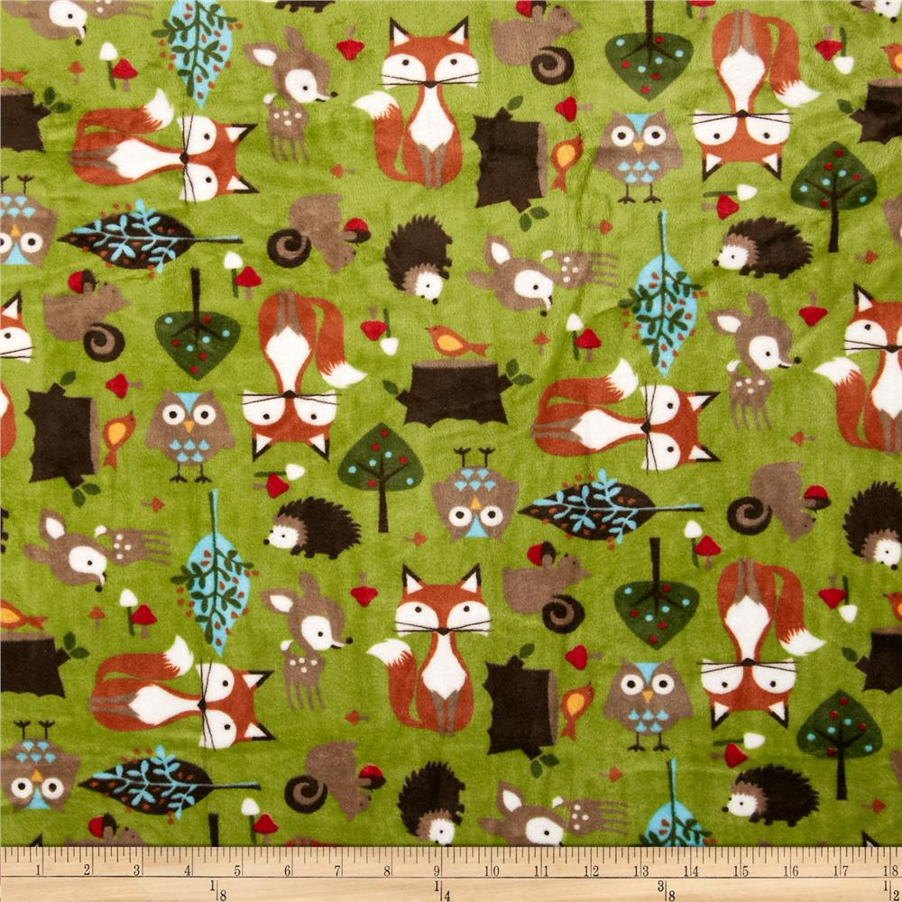 Shannon minky cuddle forest tails kiwi discount designer for Children s animal print fabric