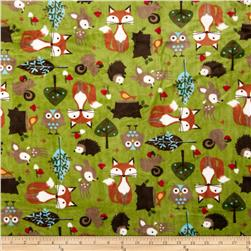 Minky Cuddle Classic Kids Forest Tails Kiwi Fabric