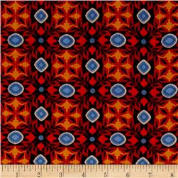 Double Georgette Foulard Print Red/Orange
