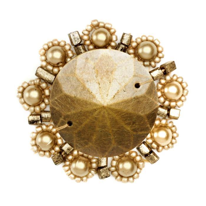 Floral Bead Pearl Medallion Applique Antique Gold
