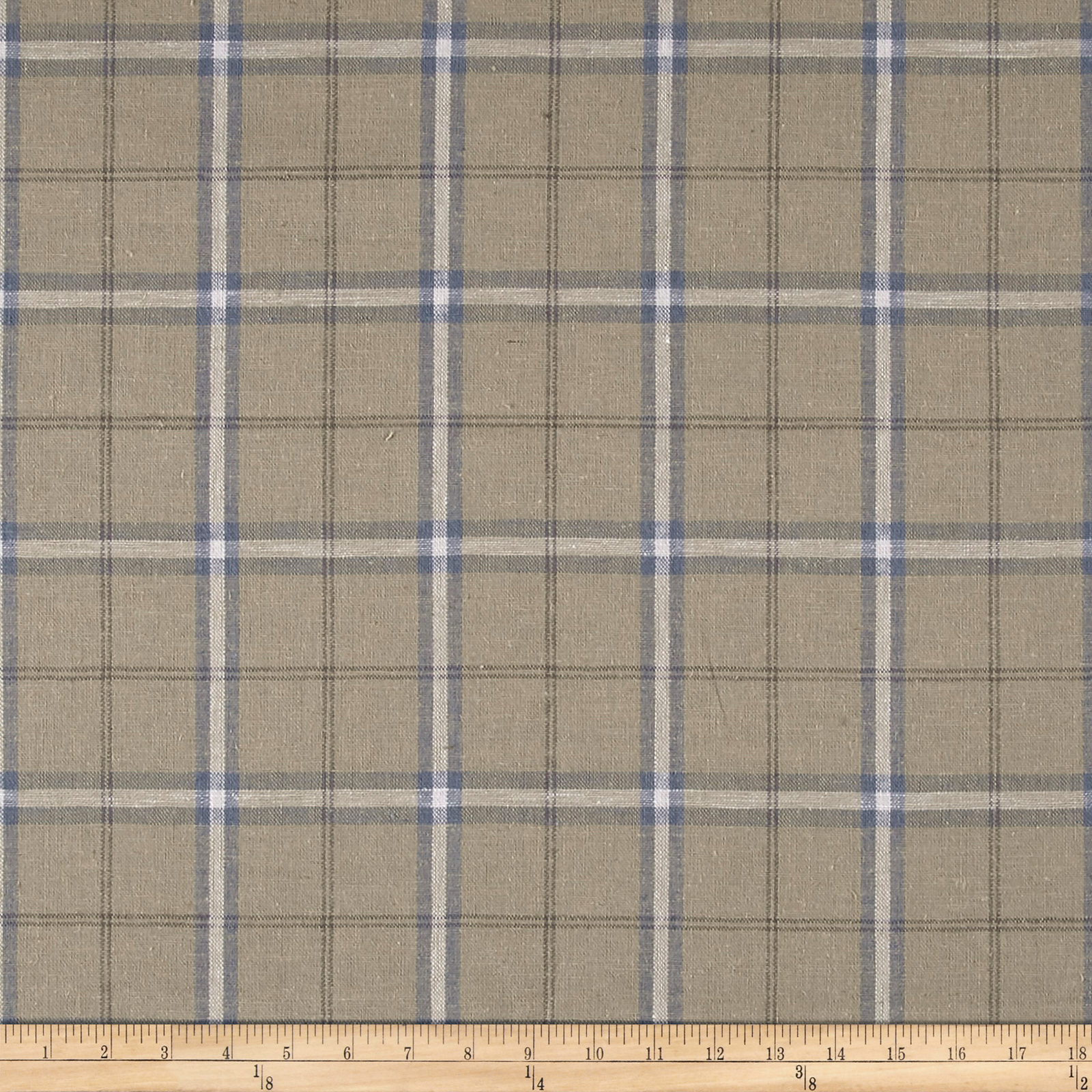 Image of Stof Shabby Chic Linen Blend Large Plaid Blue Fabric
