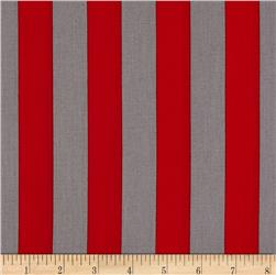 "Riley Blake 1"" Stripe Red/Grey"