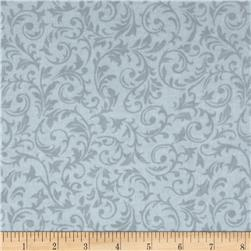 Flannel Tossed Holly Scroll Grey