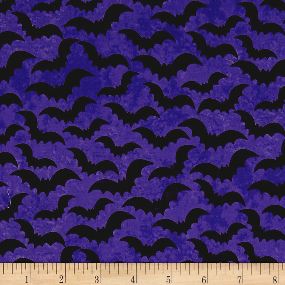 Image of Eat Drink & Be Scary Bats Purple Fabric