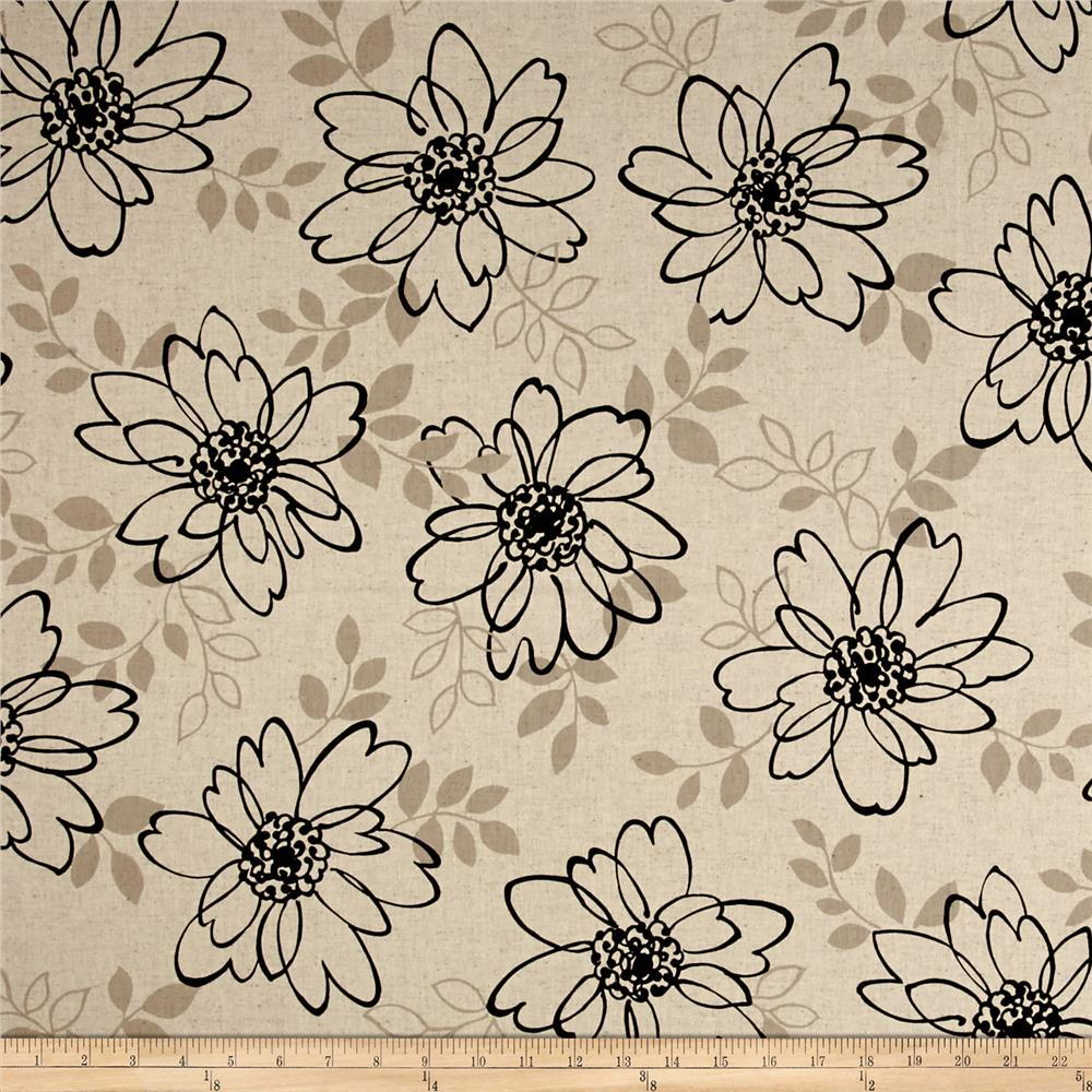 Kaufman Sevenberry Canvas Cotton Flax Prints Flowers Black Fabric By The Yard