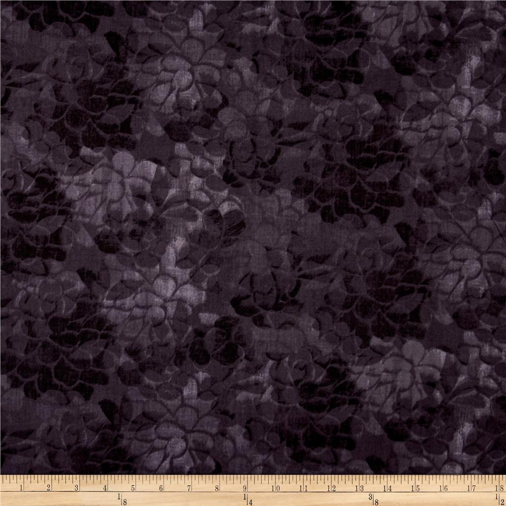 108'' Wide Charisse Quilt Back Tonal Floral Black Fabric