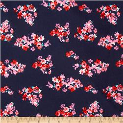 Stretch Ponte de Roma Knit Florals Navy/Pink/Red