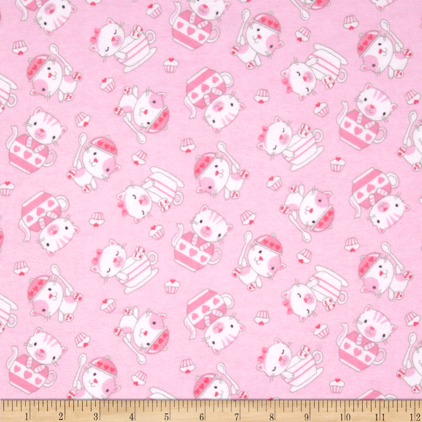 Comfy Flannel Teacup Kitty Pink Fabric